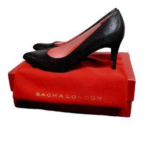Sacha London Arlene Black Lizzard Pump